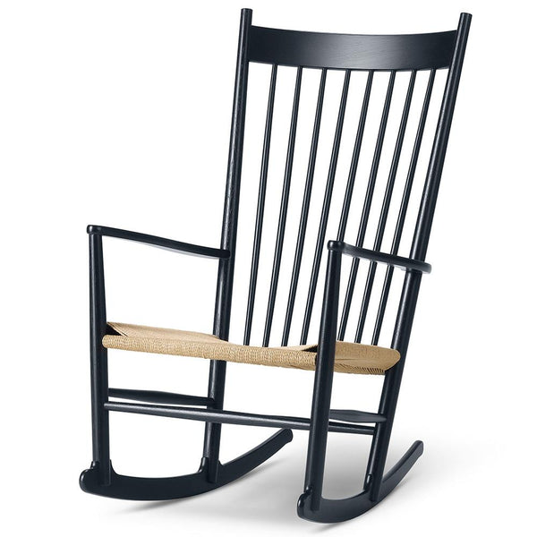 Fredericia - J16 Rocking Chair - Black Lacquered Oak / Natural Papercord - Lekker Home