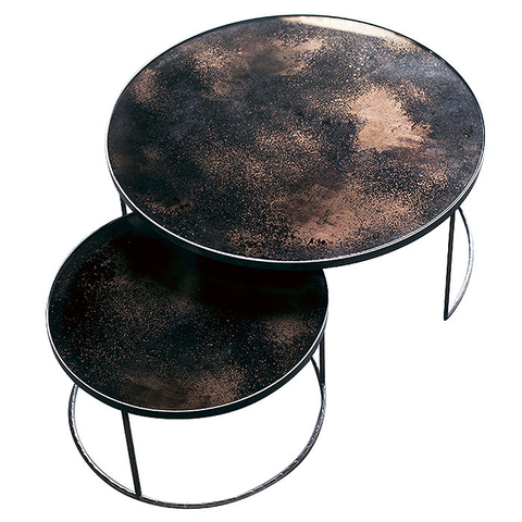 Notre Monde - Aged Mirror Nesting Coffee Table Set - Charcoal / Set of 2 - Lekker Home