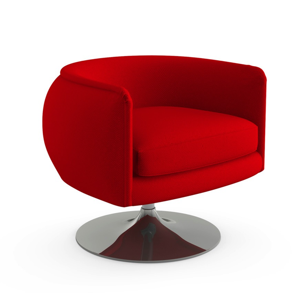 Knoll - D'Urso Swivel Chair - Fire Red Cato / One Size - Lekker Home