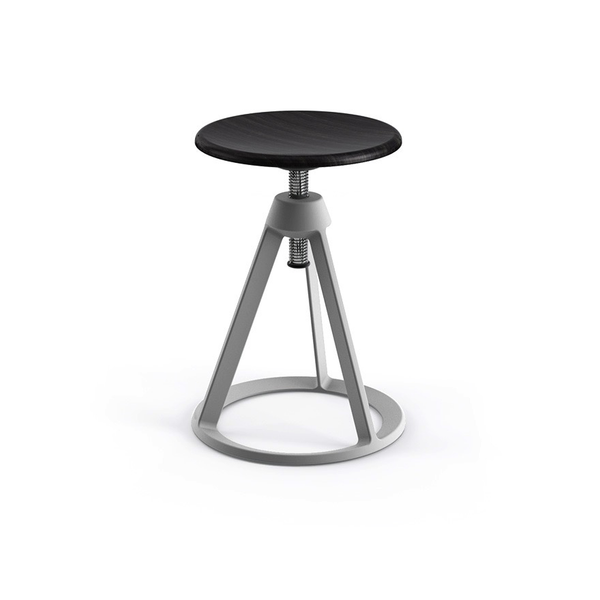 Knoll - Piton™ Adjustable Height Stool - Sterling / Ebonized Ash - Lekker Home