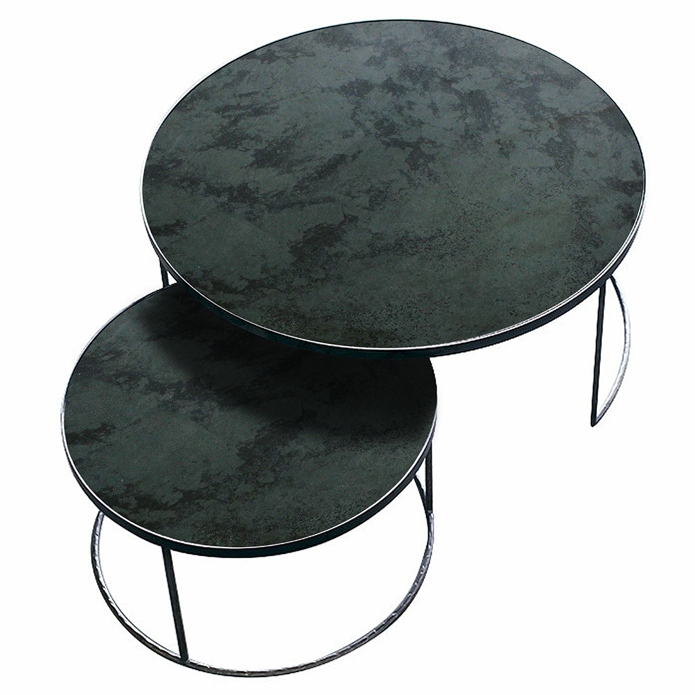 aged mirror nesting coffee table set by notre monde. Black Bedroom Furniture Sets. Home Design Ideas