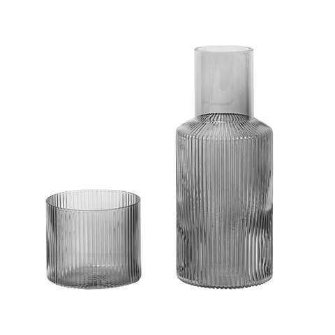 Ferm Living - Ripple Carafe Set - Smoked / Small - Lekker Home