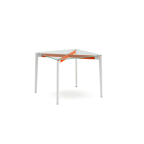 "Knoll - Stromborg Table Square 36"" - Orange / Clear Glass - Lekker Home"