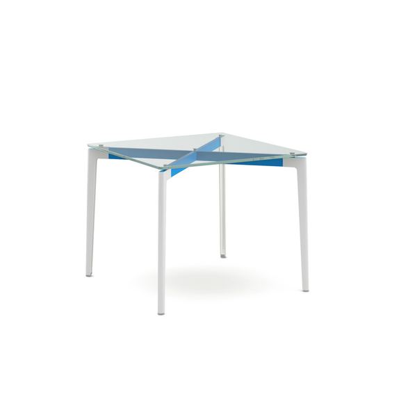 "Knoll - Stromborg Table Square 36"" - Blue / Clear Glass - Lekker Home"