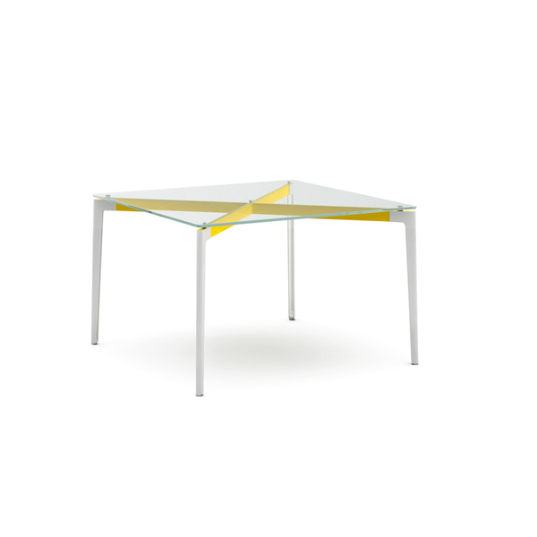 "Knoll - Stromborg Table Square 42"" - Yellow / Clear Glass - Lekker Home"