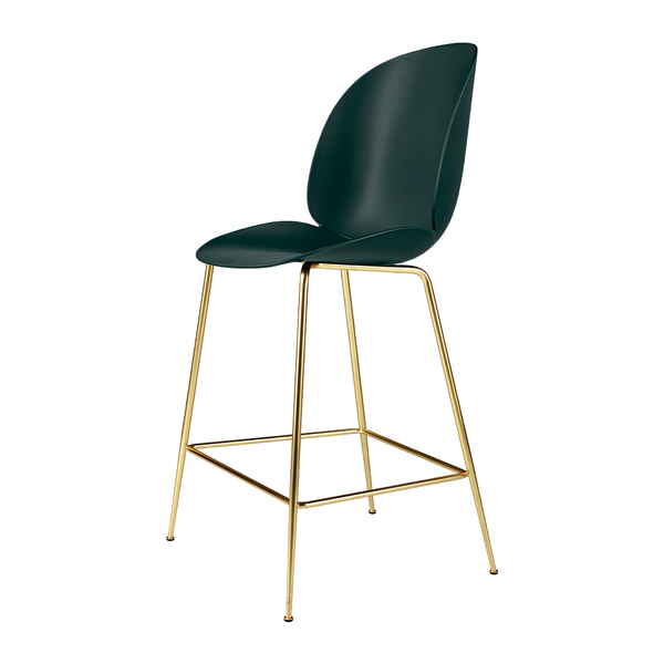 GUBI - Beetle Counter Stool - Dark Green / Semi-Matte Brass - Lekker Home