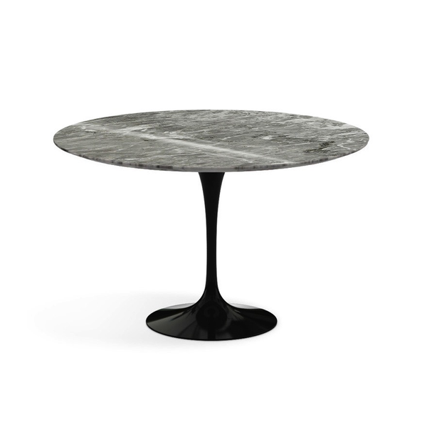 "Knoll - Saarinen Dining Table 47"" Round - Grey Coated Marble / Black - Lekker Home"