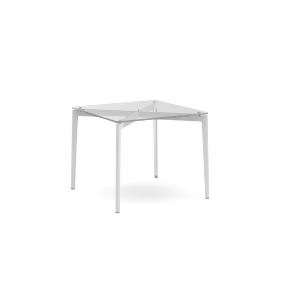 "Knoll - Stromborg Table Square 36"" - White / Clear Glass - Lekker Home"
