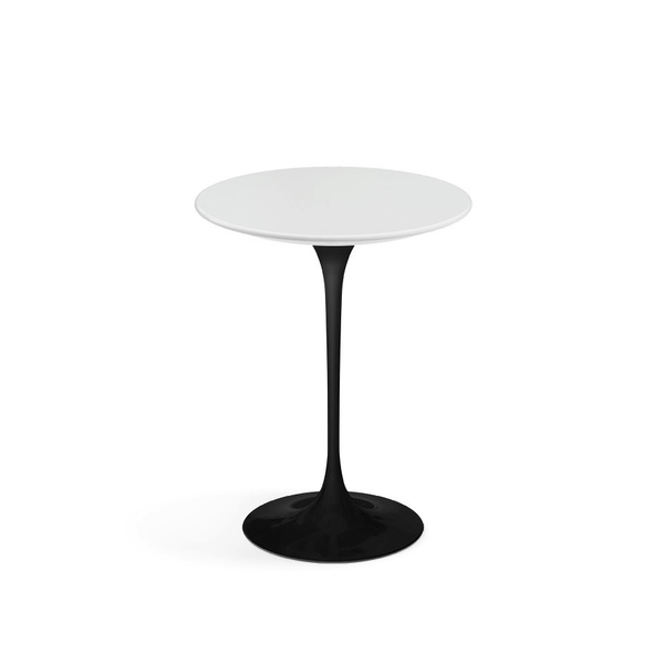 "Knoll - Saarinen Side Table 16"" Round - White Laminate / Black - Lekker Home"