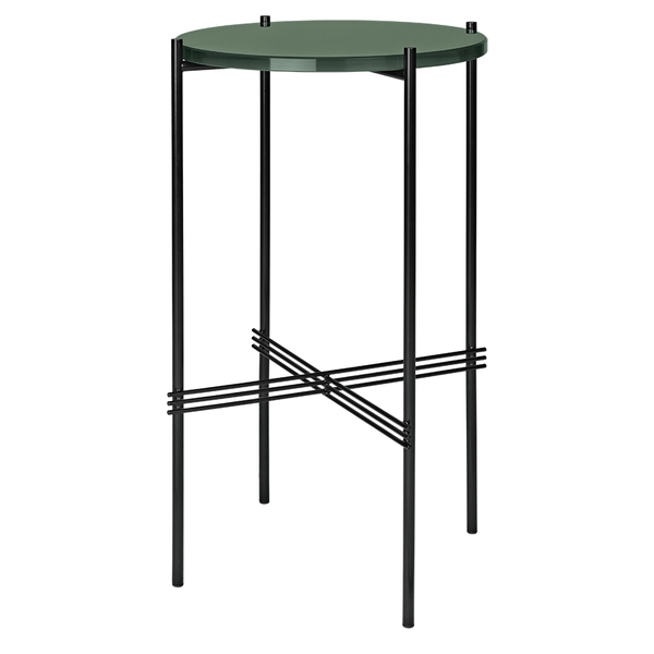 GUBI - TS Round Console - Dusty Green Glass / Black - Lekker Home