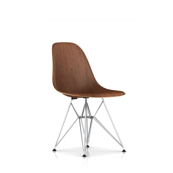 Herman Miller - Eames® Molded Wood Side Chair - Wire Base - Walnut / Trivalent Chrome - Lekker Home