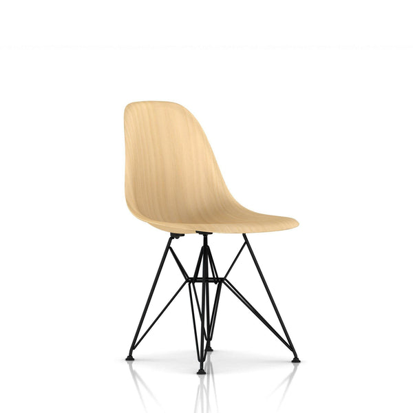 Herman Miller - Eames® Molded Wood Side Chair - Wire Base - White Ash / Black - Lekker Home