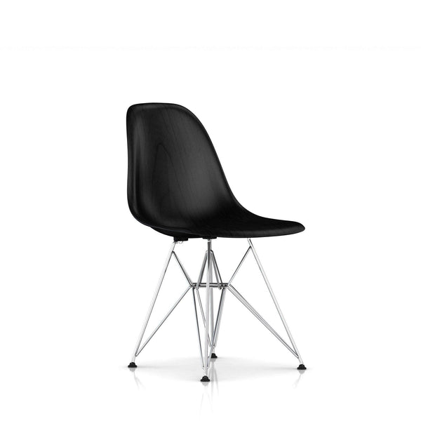 Herman Miller - Eames® Molded Wood Side Chair - Wire Base - Ebony / Trivalent Chrome - Lekker Home