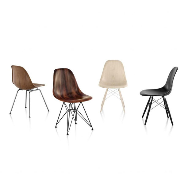 Herman Miller - Eames® Molded Wood Side Chair - Wire Base - Walnut / White - Lekker Home