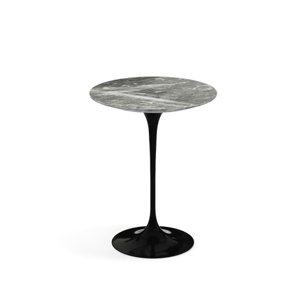 "Knoll - Saarinen Side Table 16"" Round - Grey Coated Marble / Black - Lekker Home"