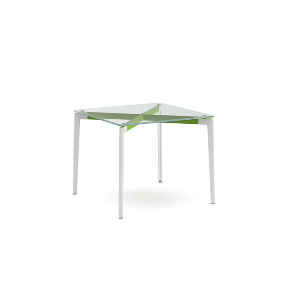 "Knoll - Stromborg Table Square 36"" - Lime Green / Clear Glass - Lekker Home"