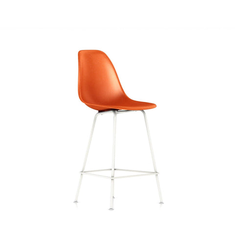Herman Miller - Eames® Molded Fiberglass Bar Stool - Red Orange / White Base - Lekker Home