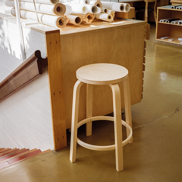 Artek - Stool 64 - Birch Veneer Seat + Natural Lacquered Legs / Bar Height - Lekker Home