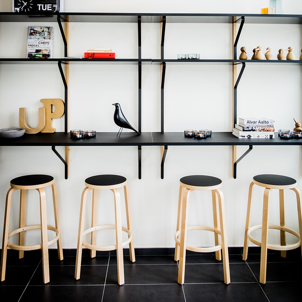 Artek - Stool 64 - Black Linoleum Seat + Natural Lacquered Legs / Bar Height - Lekker Home