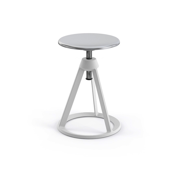 Knoll - Piton™ Adjustable Height Stool - White / Polished Aluminum - Lekker Home