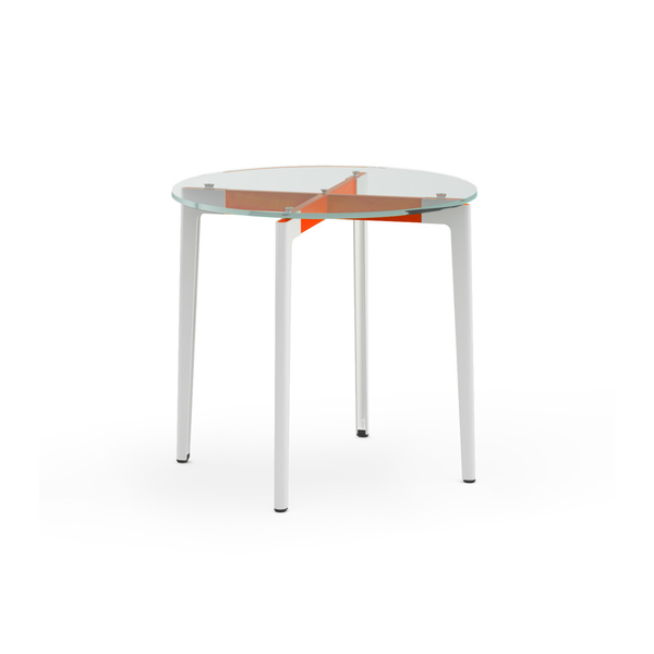 "Knoll - Stromborg Table Round 32"" - Orange / Clear Glass - Lekker Home"