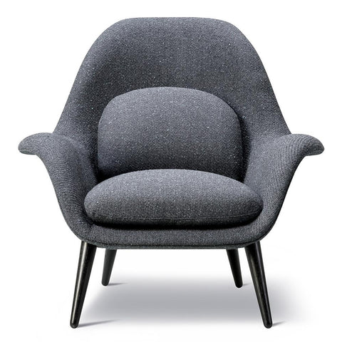 Fredericia - Swoon Lounge Chair - Rime 981 / Black Lacquered - Lekker Home