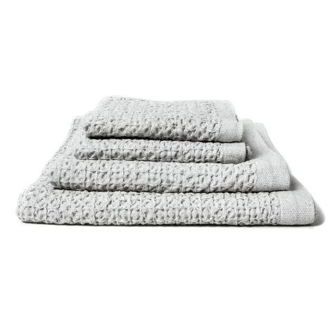 Kontex Towels - Lattice Linen Towels - Ice Grey / Wash Cloth - Lekker Home