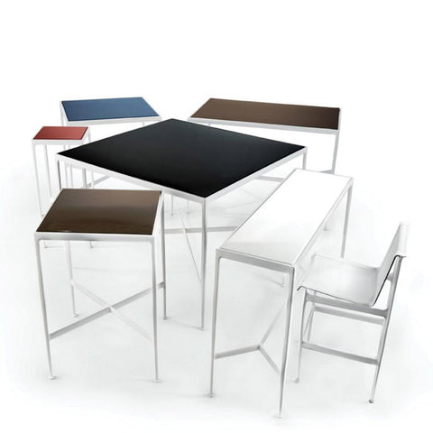 "Knoll - 1966 High Table - 60"" x 18"" - Dark Bronze Porcelain/Onyx / Bar Height - Lekker Home"