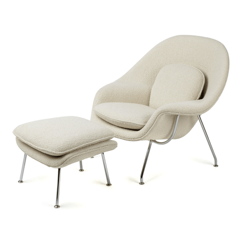 Knoll - Womb Chair and Ottoman - Pearl Classic Boucle / Polished Chrome - Lekker Home