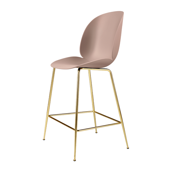 GUBI - Beetle Counter Stool - Sweet Pink / Semi-Matte Brass - Lekker Home