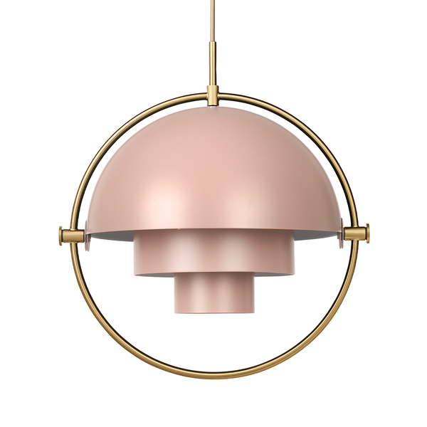 GUBI - Multi-Lite Pendant - Rose Dust Semi Matte + Brass / One Size - Lekker Home