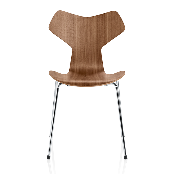 Fritz Hansen - Grand Prix™ Dining Chair - Walnut / Chromed Base - Lekker Home