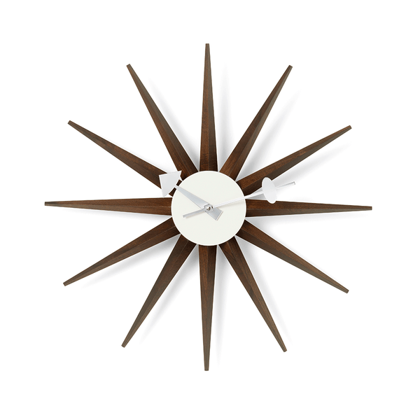 Vitra - Nelson™ Sunburst Clock - Walnut / One Size - Lekker Home