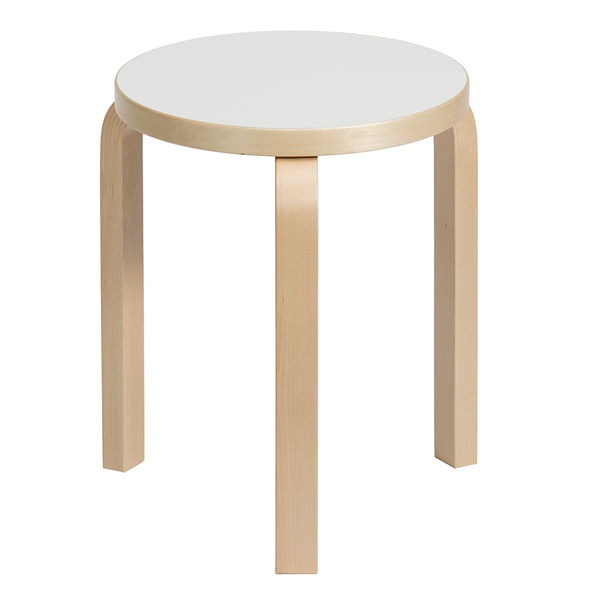 Artek - Stool 60 - Natural Lacquered / IKI White HPL - Lekker Home
