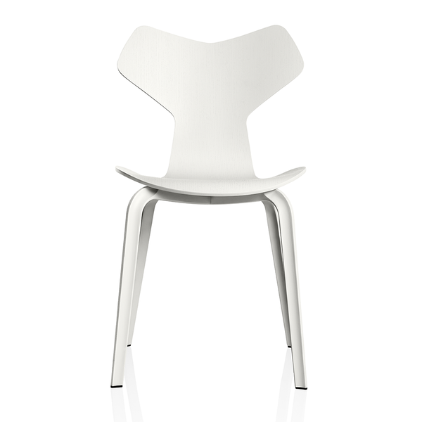 Fritz Hansen - Grand Prix™ Dining Chair - White Colored Ash / Wooden Legs - Lekker Home