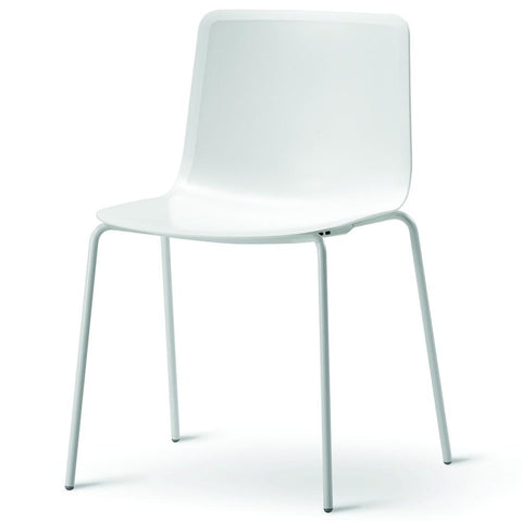 Fredericia - Pato 4 Leg Chair - White / Chrome - Lekker Home