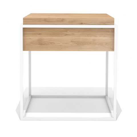 "Ethnicraft NV - Monolit Side Table - White / 5"" Natural Oak - Lekker Home"