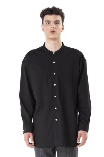 Jansober Black Collarless Long Sleeves Shirt With Side Pockets