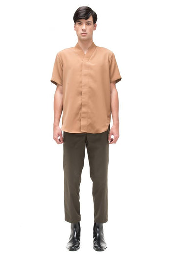 Jansober Camel Collarless pt.4 Shortsleeve Shirt