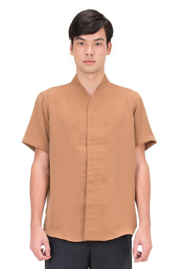 Jansober Camel Collarless pt.5 Shortsleeve Shirt