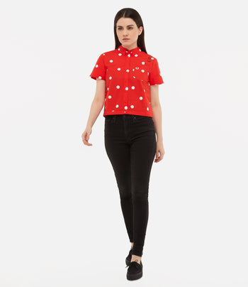 Fred Perry Amy Polka Dot Bowling Shirt