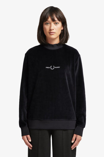 Fred Perry Velour Embroidered Sweatshirt