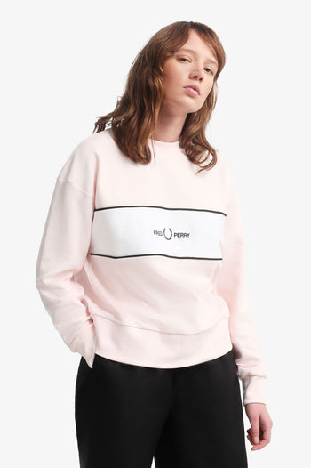 Fred Perry Satin Trim Embroidered Sweat