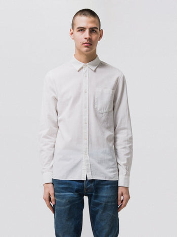 Nudie Henry Batiste Garment Dye Off White