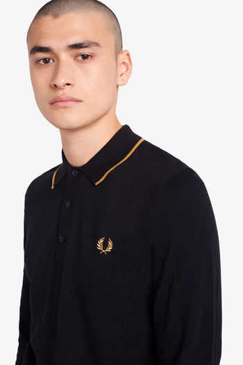 Fred Perry Tipped Long Sleeve Knitted Shirt