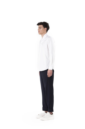 Jansober White Linen Collarless Pt. II Long Sleeves