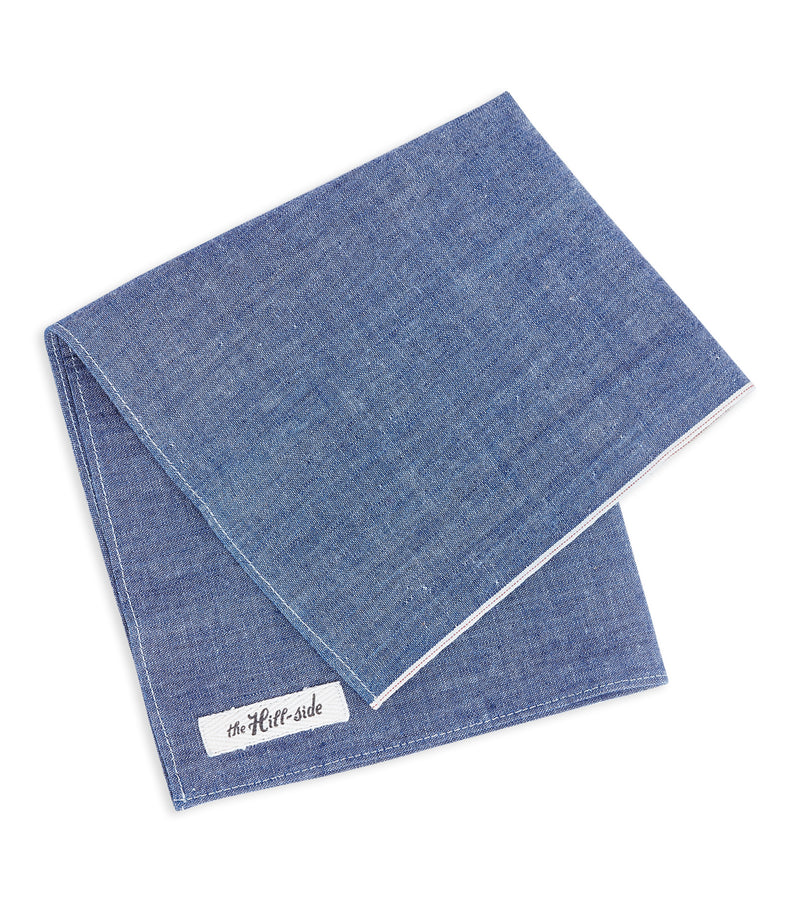 The Hillside Pocket Square, Selvedge Chambray