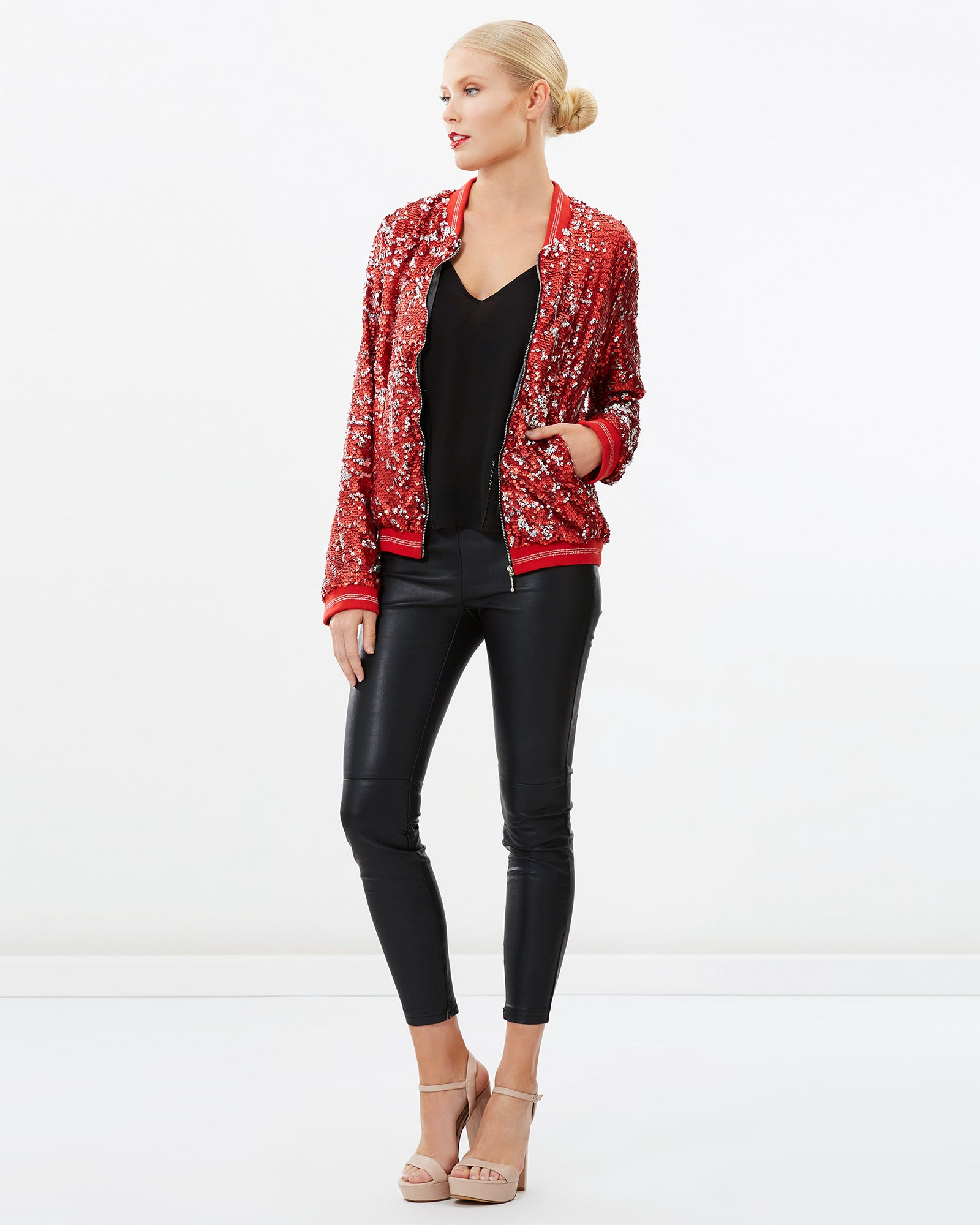 TWO-TONED SEQUINS BOMBER JACKET