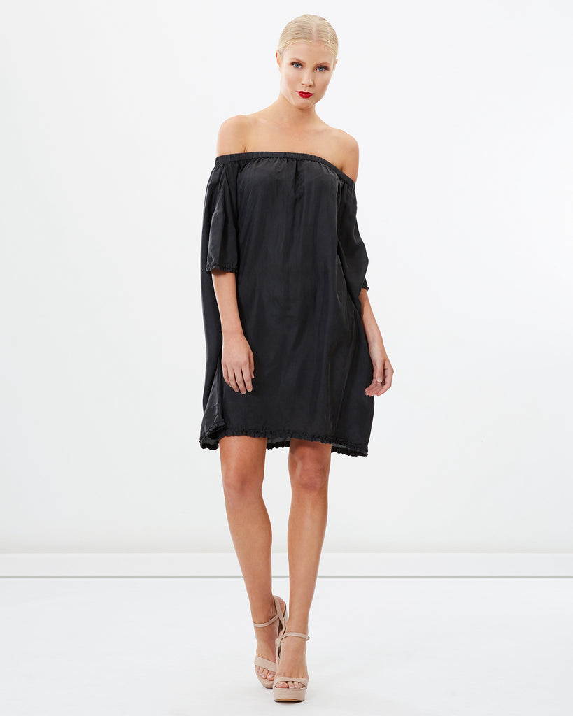 OFF SHOULDER SANDWASHED SILK DRESS