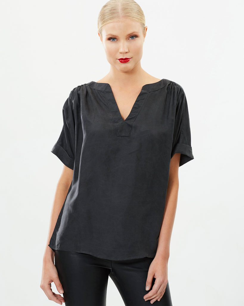 V-NECK SANDWASHED SILK TOP
